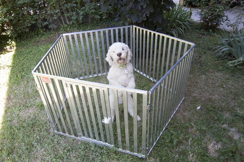 Recinto per cani in stecche d 39 alluminio per cani retex - Recinto mobile per cani ...