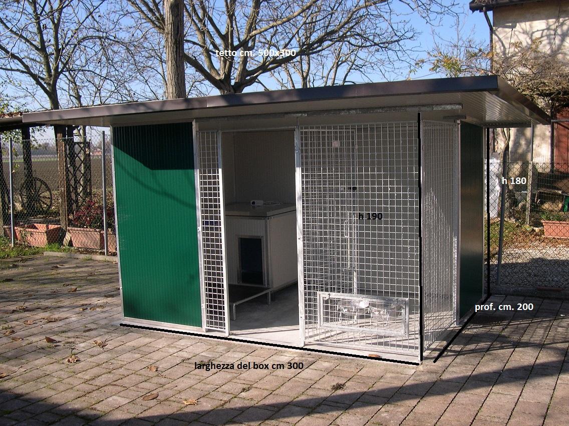 box per cani da esterno singolo con cuccia riparo
